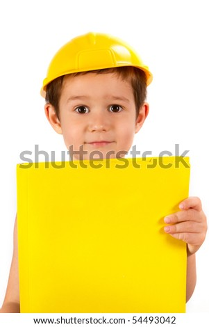 boy with yellow protective helmet and folder posing as building contractor - stock photo