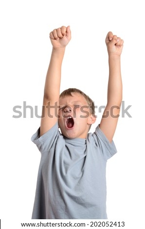 boy yelling arms up isolated white background - stock photo