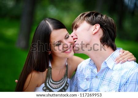 boyfriend bite on girl shack - stock photo