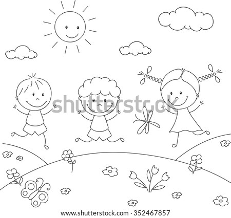Boys and a girl playing in the meadow. Coloring book. illustration - stock photo