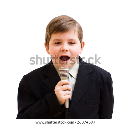 boys and microphone - stock photo
