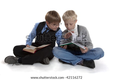 boys are reading the book - stock photo