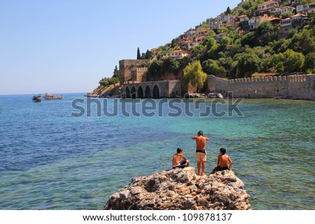 boys at the beach in Alanya - stock photo