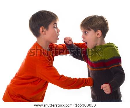boys fighting  - stock photo