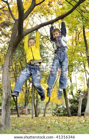 boys hanging from branch of tree - stock photo