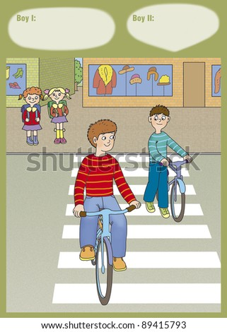 boys on bikes crossing the road, correct? - stock photo