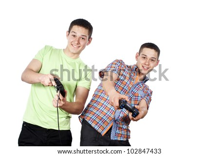 boys play computer games insulated - stock photo
