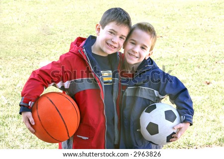 Boys with Sports Balls - stock photo
