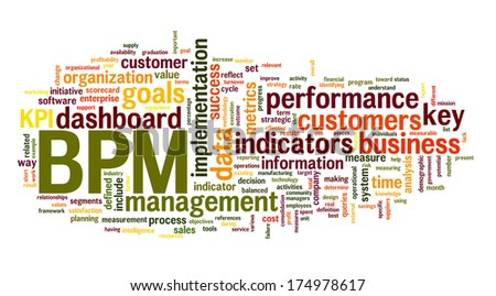 BPM business  performance management in word tag cloud on white background - stock photo
