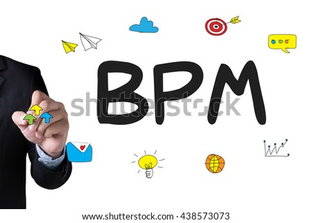 BPM - Business Process Management  and Businessman drawing Landing Page on white background - stock photo