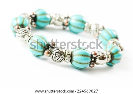 Bracelet isolated on white background. - stock photo