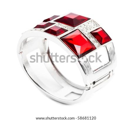 bracelet with ruby isolated on white background - stock photo