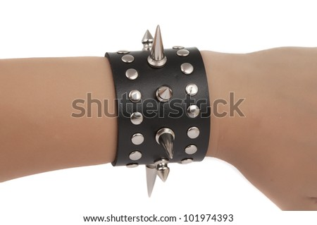 bracelet with spikes isolated on white background - stock photo