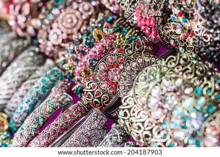 Bracelets jewelry in the Hill tribe market  - stock photo