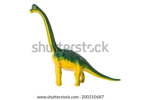 Brachiosaurus Dinosaur toy isolate on white background - stock photo