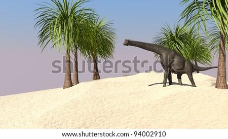 brachiosaurus in jungle - stock photo