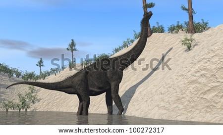 brachiosaurus on bank - stock photo