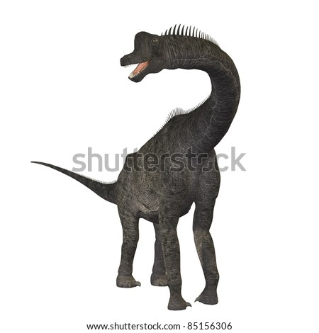 Brachiosaurus 01 - The Brachiosaurus dinosaur was a sauropod from the Jurassic Period. Its forelimbs were much longer then its hind limbs giving it the look of the modern giraffe. - stock photo