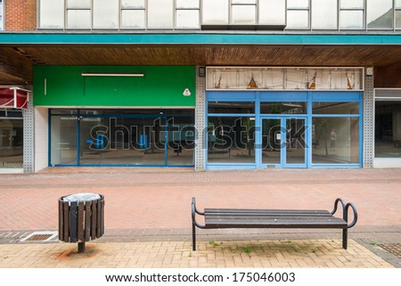 BRACKNELL, UK - AUGUST 11, 2013: An empty highstreet in the Berkshire town of Bracknell. Awaiting demolition to make way for re-development. - stock photo