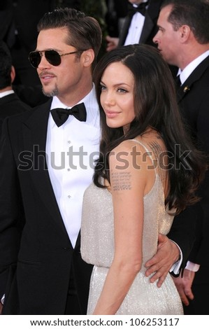Brad Pitt and Angelina Jolie at the 66th Annual Golden Globe Awards. Beverly Hilton Hotel, Beverly Hills, CA. 01-11-09 - stock photo