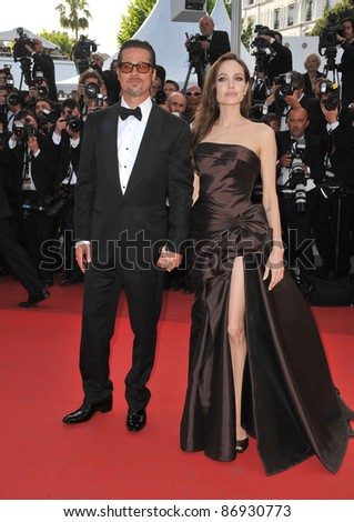 """Brad Pitt & Angelina Jolie at the gala premiere of his new movie """"The Tree of Life"""" in competition at the 64th Festival de Cannes. May 16, 2011  Cannes, France Picture: Paul Smith / Featureflash - stock photo"""