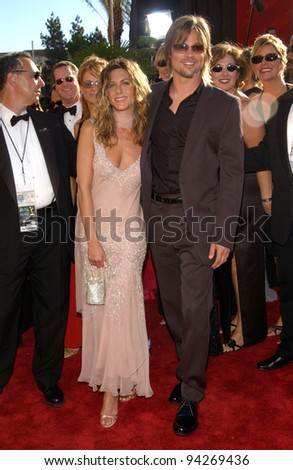 BRAD PITT & JENNIFER ANISTON at the 2002 Emmy Awards in Los Angeles. 22SEP2002.  Paul Smith / Featureflash - stock photo