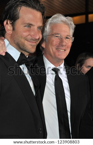 Bradley Cooper & Richard Gere (right) at the Awards Gala for the 2013 Palm Springs International Film Festival. January 5, 2013  Palm Springs, CA Picture: Paul Smith - stock photo
