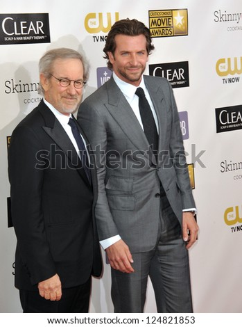 Bradley Cooper & Steven Spielberg at the 18th Annual Critics' Choice Movie Awards at Barker Hanger, Santa Monica Airport. January 10, 2013  Santa Monica, CA Picture: Paul Smith - stock photo