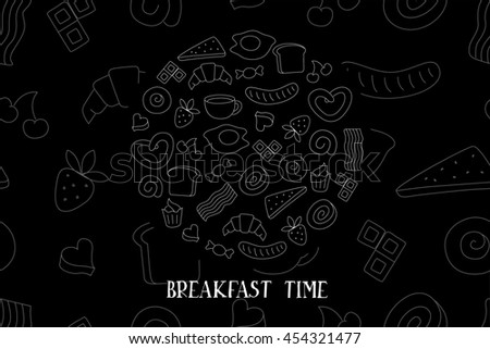 Braekfast time, seamless background for your design. Raster version - stock photo