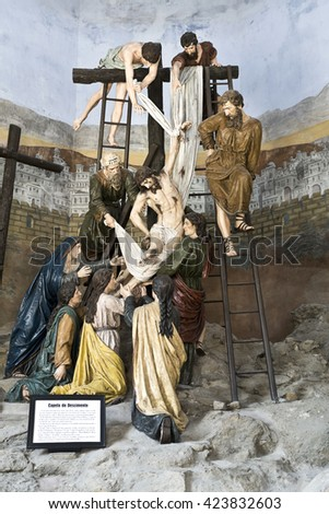 """BRAGA, PORTUGAL - September 21, 2015: Scene depicting the descent of Jesus from the cross in the Sanctuary of Good Jesus on September 21, 2015 in Braga, Portugal """"Chapel of the Descent"""" - on plaque - stock photo"""