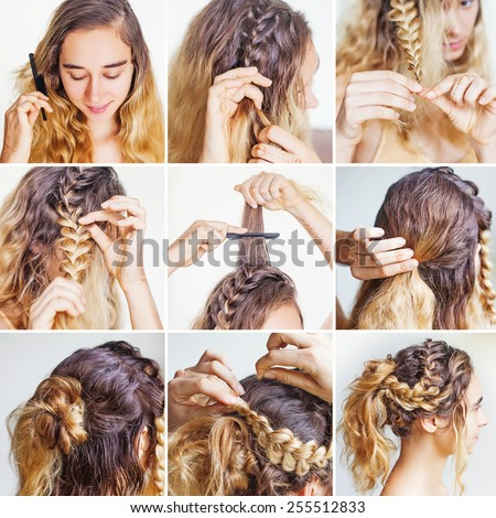 braided updo tutorial for a curly hair by beauty blogger - stock photo