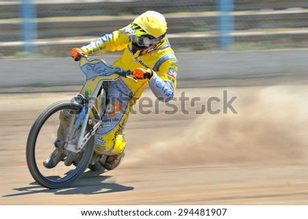 BRAILA, ROMANIA - May 11: Unidentified riders participate at National Championship of Dirt Track on May 11, 2014 on Braila, Romania - stock photo