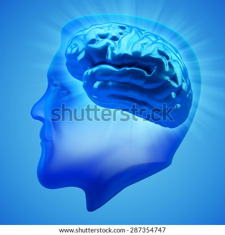 Brain activity, power and intelligence concept, human head silhouette with brain inside it on blue background - stock photo