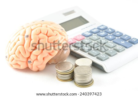 brain and calculator  - stock photo