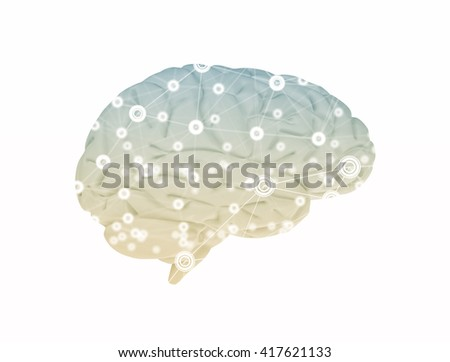 Brain and network 3d render  - stock photo