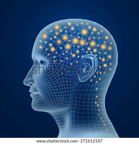 Brain, and pulses. process of human thinking - stock photo