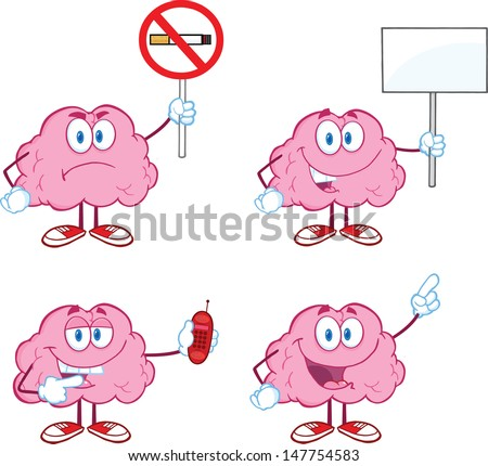 Brain Cartoon Mascot Collection 5. Vector version also available in gallery - stock photo