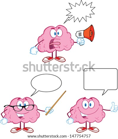 Brain Cartoon Mascot Collection 11. Vector version also available in gallery - stock photo