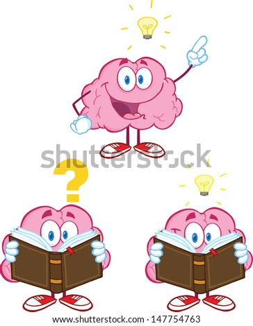 Brain Cartoon Mascot Collection 10. Vector version also available in gallery - stock photo