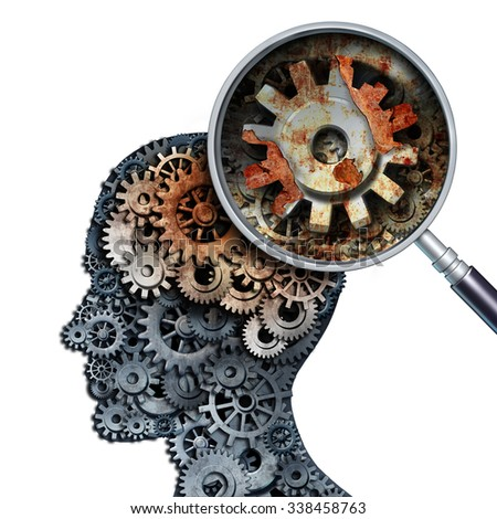 Brain decline and dementia or aging as memory loss concept for brain cancer decay or an Alzheimer's disease with old rusting mechanical gears and cog wheels in the shape of a human head with rust. - stock photo