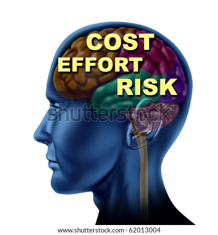 brain finance opportunity cost effort risk isolated - stock photo