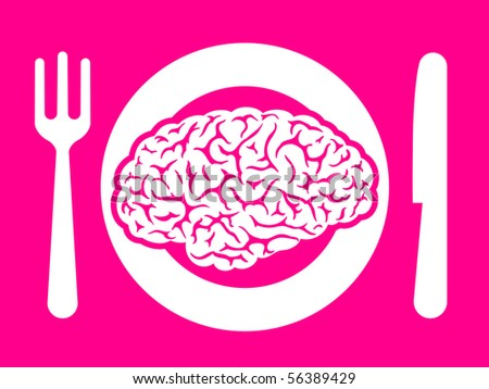 Brain food on plate with fork and knife - stock photo