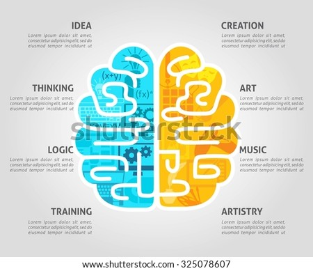 Brain function concept with left intellectual and right emotional hemispheres flat  illustration - stock photo