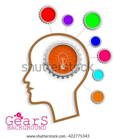 Brain head idea link concept gears - stock photo
