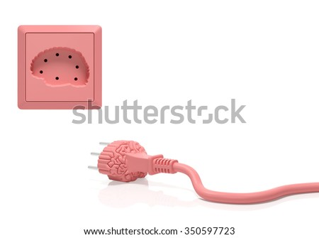 Brain idea inspiration creative concept. Electric plug and power socket as brain organ as symbol of brainstorming, creation, learning process, cognition, perception, success innovation, use your brain - stock photo