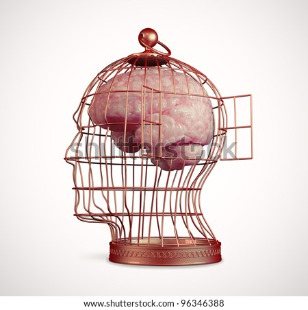 Brain inside a head shaped bird cage - stock photo