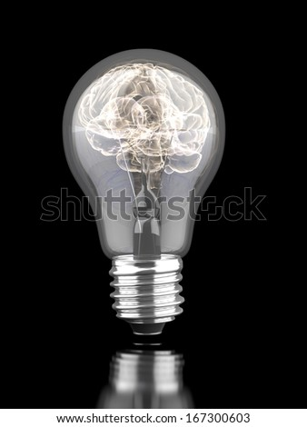 Brain inside a light bulb - stock photo
