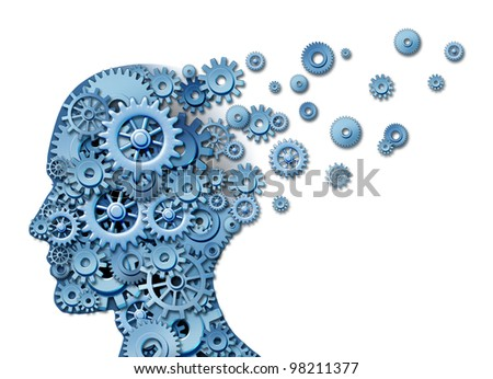 Brain loss and losing memory and intelligence due to neurological trauma and head injury or alzheimer disease caused by aging with gears and cogs in the shape of a human thinking mind. - stock photo