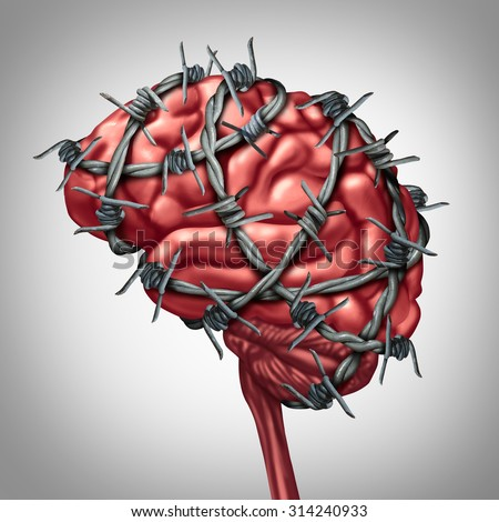 Brain pain medical health care concept as a human thinking organ with barbwire or sharp barb wire fence wrapped around the anatomy as a symbol for a painful illness or migraine headache suffering. - stock photo