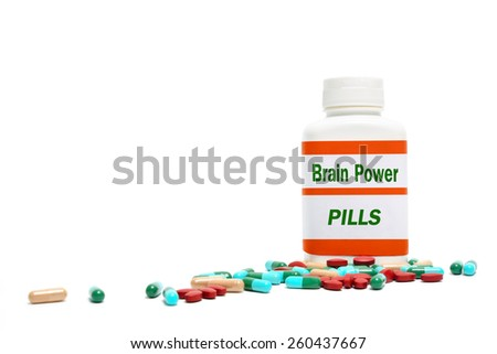 Brain Power, pills in a bottle - stock photo